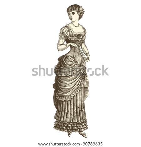 "Ball gown - Vintage engraved illustration - ""La mode illustree"" by Firmin-Didot et Cie in 1882 France"