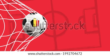 Ball in goal. Soccer ball with Belgium flag  ( Red Devils ) or Belgian. Red background. Soccer, football net. Vector sign. Sport finale wk, ek or school, sports game. 2020, 2021, 2022 Stok fotoğraf ©