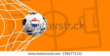Ball in goal with the flag of the Netherlands. Soccer ball or football net. Vector, orange background banner. Holland or Dutch orange supporters. Goal net. Sport finale wk, ek game. 2020, 2021, 2022 Stok fotoğraf ©