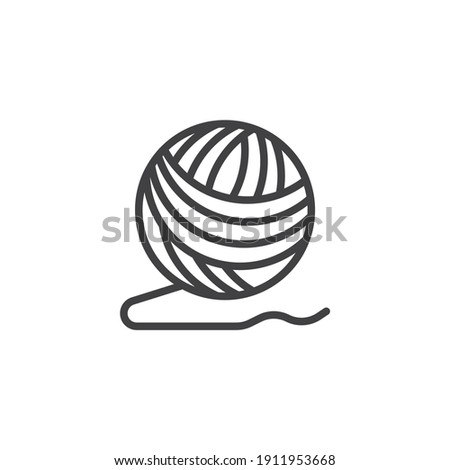 Ball of yarn line icon. linear style sign for mobile concept and web design. Woolen knitting thread ball outline vector icon. Symbol, logo illustration. Vector graphics Stock photo ©