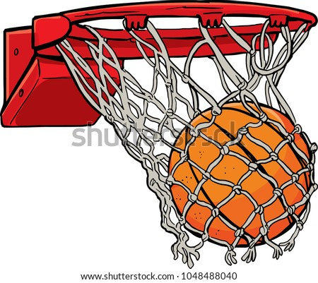 ball passes through the hoop in the basket Stock photo ©