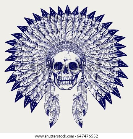 ball pen sketch skull and
