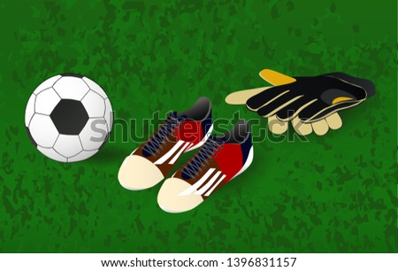 ee1283e2f ball, soccer shoes and goalkeeper's gloves - Shutterstock ID 1396831157