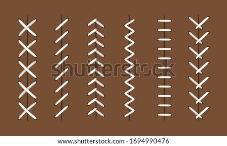 Ball stitches. Vector seams patterns for baseball or hardball, football and basketball leather balls, sports objects stitching textures Сток-фото ©