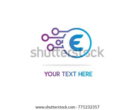 ball technology E logo design illustration