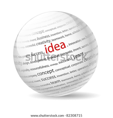 Ball with inscription idea, on a white background. Vector.