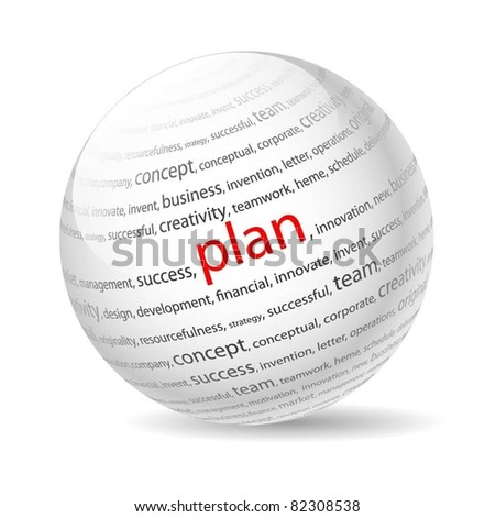 Ball with inscription plan, on a white background. Vector.
