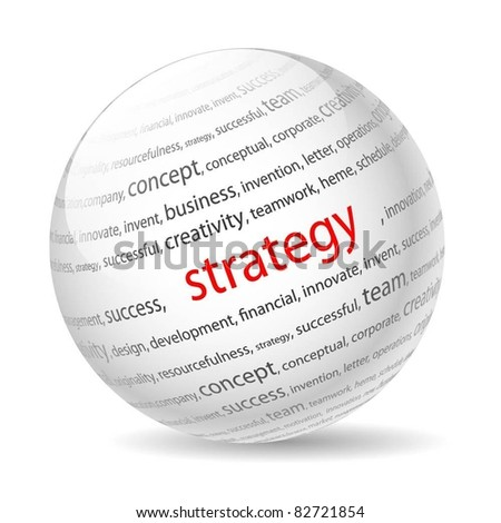 Ball with inscription strategy, on a white background. Vector.