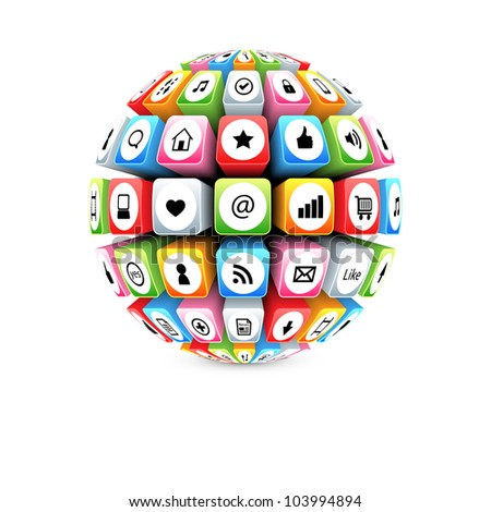 ball with social media icons vector