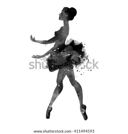 ballerina dancing. watercolor.vector