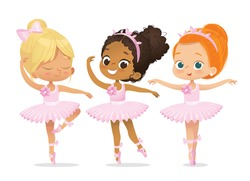 Ballerina Girl Friend Character Training Set. Cute African American Child wear Pink Tutu Dress and Pointe Pose in Multiracial School. Baby Girl Ballet Dancer Kit Design Flat Cartoon Illustration.