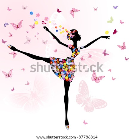 ballerina girl with flowers