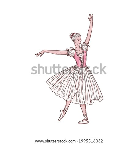 Ballerina in classical dress and pointe shoes. Woman dancer in gracious dance motion dancing on theatre performance. Vector sketch illustration isolated on a white background. Stock fotó ©