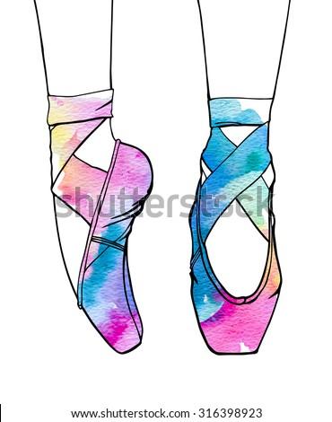 ballerina's feet in dancing