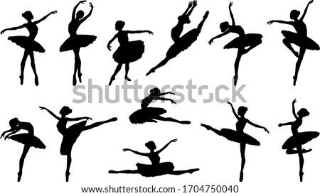 Ballerina silhouette ballet dance poses Foto stock ©