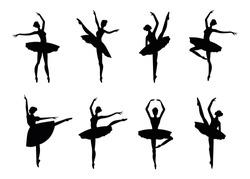 Ballerina silhouette isolated on white background. Vector female ballet dancer.