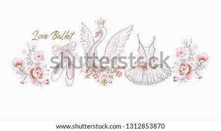 Ballet cute t-shirt design. Princess swan, I love ballet slogan, dress, tutu skirt, pointe shoes, ballerina flowers. Watercolor vector sketch. Vintage illustration white background. Baby girl fashion Foto d'archivio ©