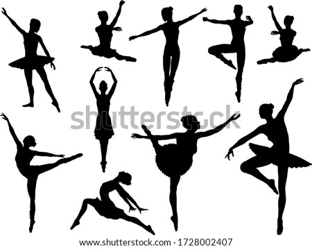 Ballet dancer set of silhouettes dancing in various poses and positions Foto stock ©