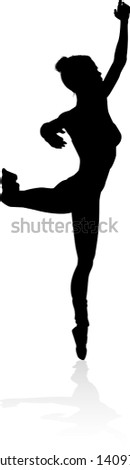 Ballet dancer woman in silhouette dancing in posed position