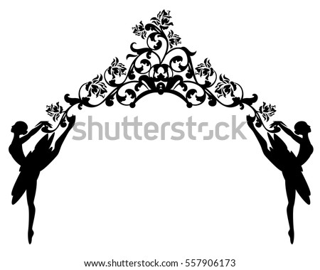 ballet dancers and rose flowers - black and white vector decorative design.