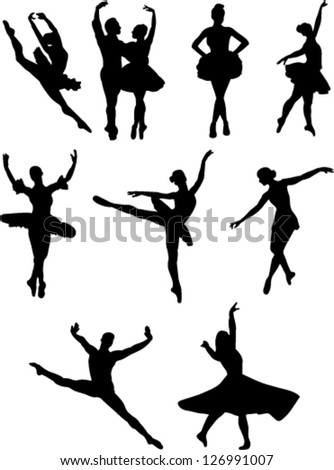 ballet dancers collection vector