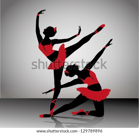 ballet dancers silhouettes. Vector illustration
