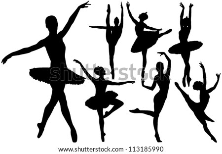 Ballet female dancers vector silhouettes on white background. Layered. Fully editable.