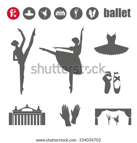 ballet icon set with ballet