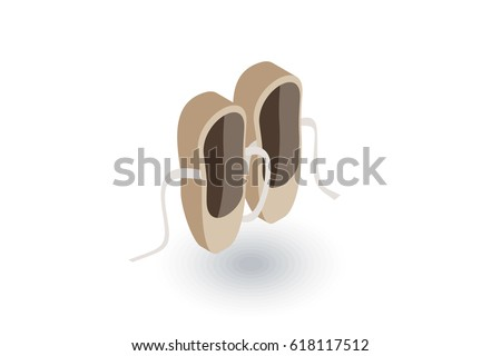Ballet shoes isometric flat icon. 3d vector colorful illustration. Pictogram isolated on white background