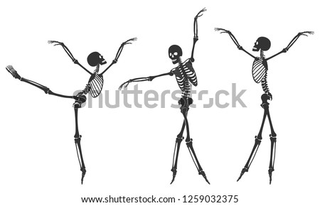 Ballet. Three dancing black silhouettes of skeletons, isolated on a white background. Vector illustration