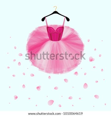 ballet tutu dress pink vector