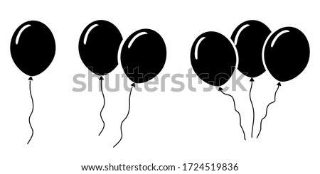 Ballon icon vector template, illustration symbol ballon in black and white background