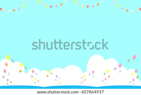 Balloon and Flag Ocean Background - Shutterstock ID 607864937