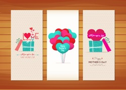 balloon and gifts Mother's Day Cards