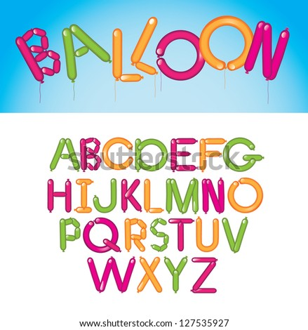 Balloon Font Alphabet A through Z EPS 8 vector, no open shapes or paths. Grouped for easy editing.