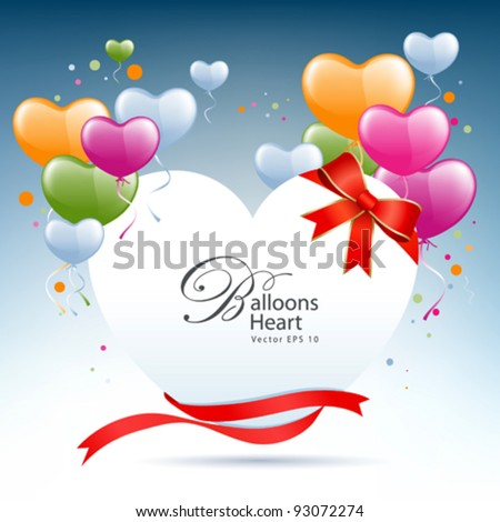 Balloon heart card happy valentine's day vector illustration