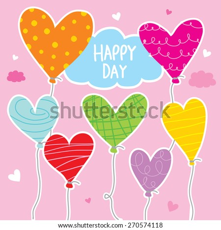 Balloon Heart Colorful Cartoon Character Vector Design  #270574118