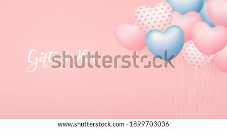 Balloon heart colorful design, valentine's day concept on pink background, Eps 10 vector illustration