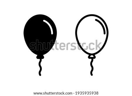 Balloon icon set. party balloon icon decoration birthday vector. Balloon black silhouette icon