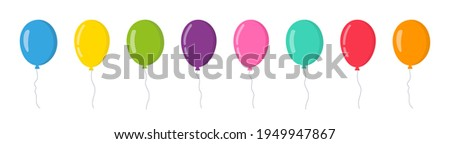 Balloon in cartoon style. Bunch of balloons for birthday and party. Flying ballon with rope. Blue, red, yellow and green ball isolated on white background. Flat icon for celebrate and carnival. Vector