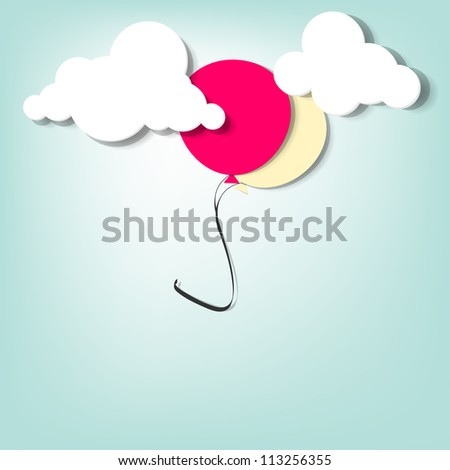 balloon in the clouds - stock vector
