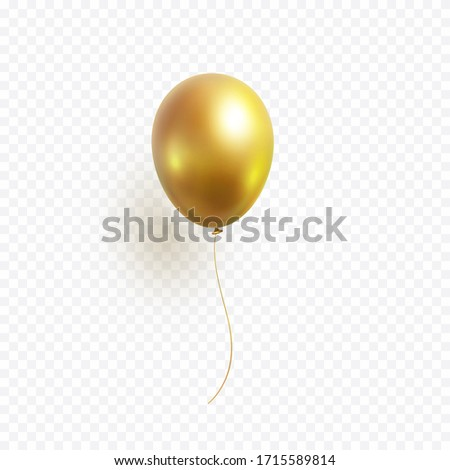 Balloon isolated on transparent background. Vector realistic gold, bronze or golden festive 3d helium balloon template for anniversary, birthday party design