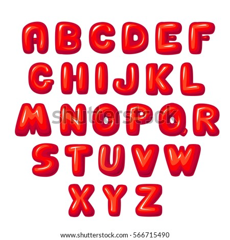 balloon lettering Funny bold lettering volumetric bold  on white, red  volumetric letters lettering on white fat volumetric, candy bold lettering children letter, red font, letter sweet bold shiny red