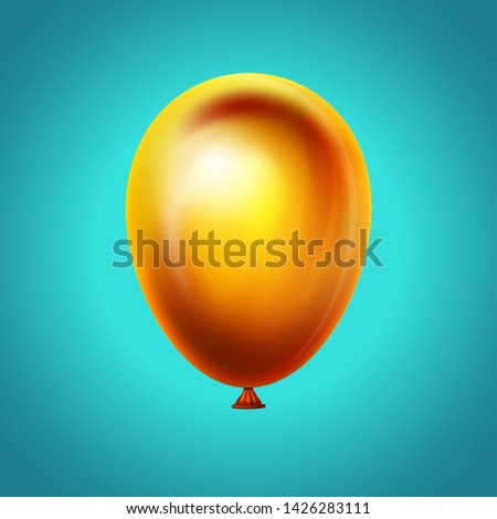 Balloon on blue sky background.Vector realistic icon. Happy anniversary, wedding, birthday decoration. Realistic 3d object, icons and design element. Yellow helium ballon flying. Vector illustration.
