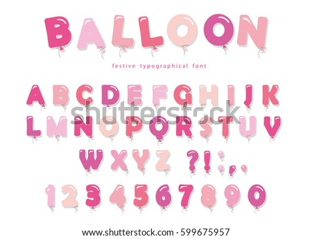 balloon pink font cute abc