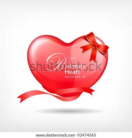 Balloon red heart ribbon valentine's day vector illustration