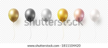 Balloon set isolated on transparent background. Vector realistic gold, bronze, golden rose, silver, white and black festive 3d helium balloons template for anniversary, birthday party design