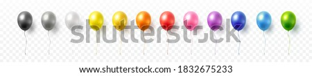 Balloon set isolated on transparent background. Vector realistic gold, silver, white, golden colorful and black festive 3d helium balloons template for anniversary, birthday party design