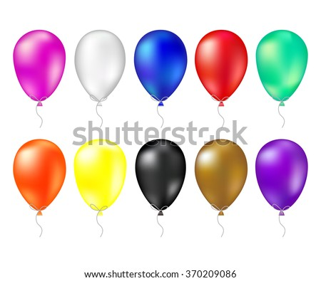 Balloon set. Vector illustration of shiny colorful glossy balloons. Realistic air 3d balloons isolated on white background. Big collection of different nice balloons. design elements balloon