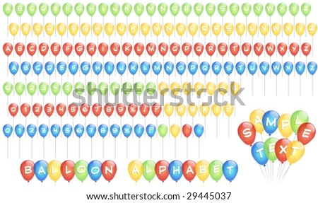 Balloon shaped alphabet, with letters on yellow, green, red and blue balloons. White background. Vector image.
